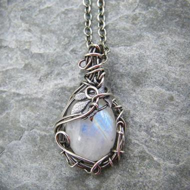 Silver Moonstone Pendant Metal Detail Necklace