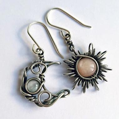 Moon and Sun Design Metal Detail Earring Set