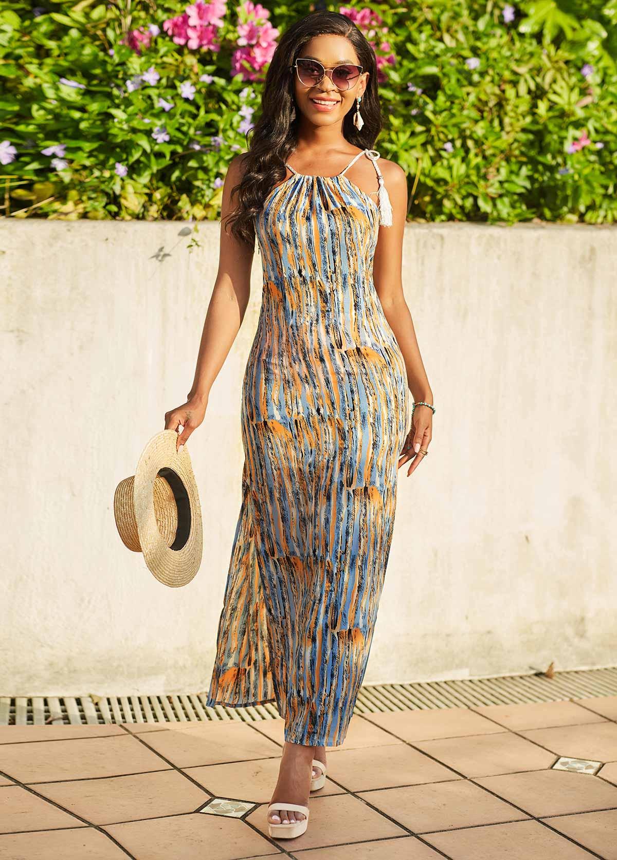 Printed Spaghetti Strap Tassel Detail Dress