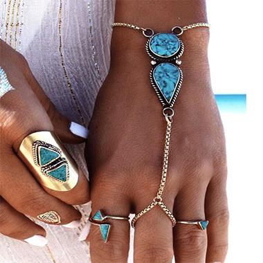 Bohemia Turquoise Silver Metal Detail Bracelet