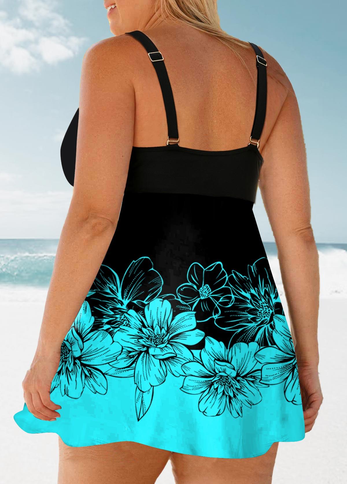 Bowknot Plus Size Floral Print Swimwear Top