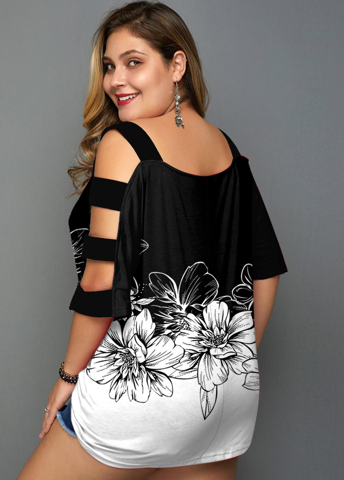 Floral Print Plus Size Color Block T Shirt