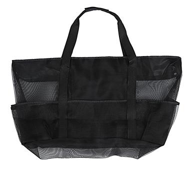 Sheer Mesh Stitching Solid Pocket Detail Storage Bag