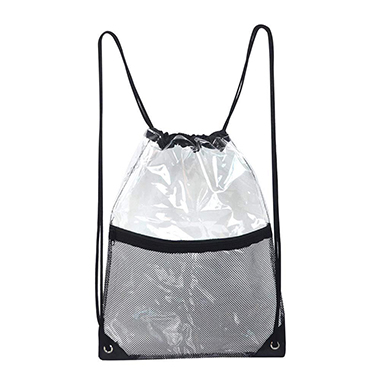 Fishnet Panel Transparent Design Drawstring Detail Backpack