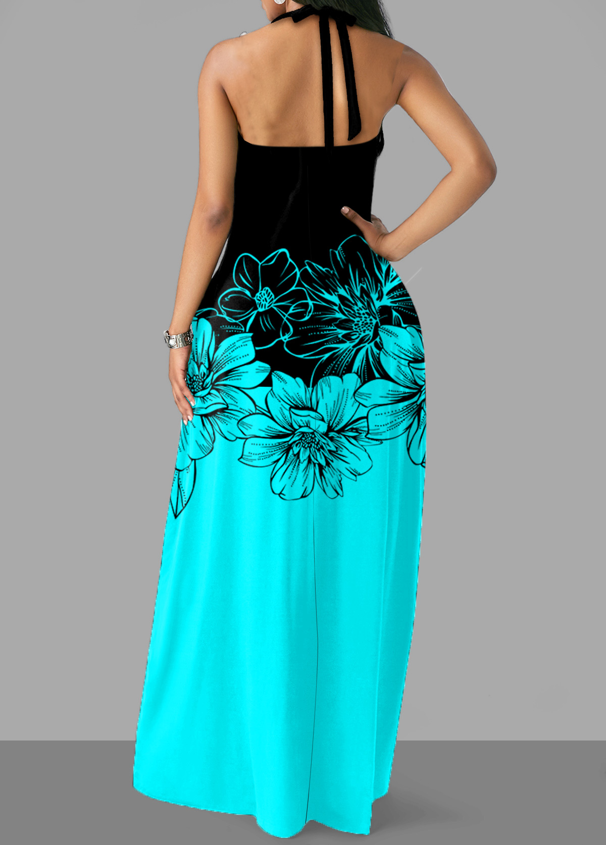 Halter Floral Print Cross Strap Maxi Dress