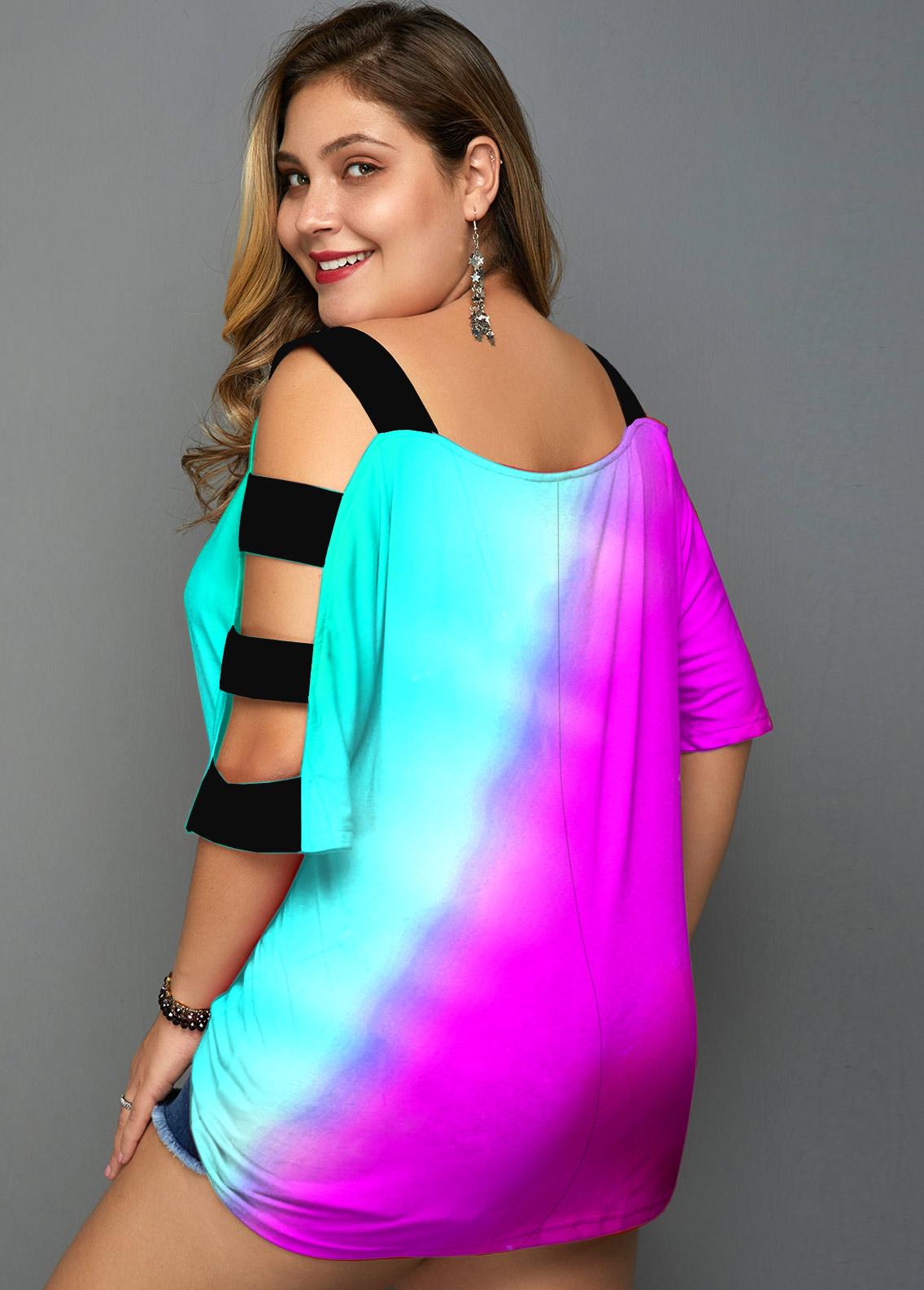 Plus Size Ladder Cutout Colorful T Shirt