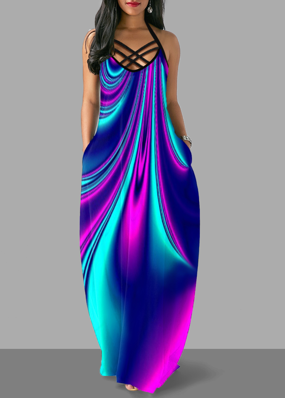 Pocket Colorful Cross Strap Maxi Dress