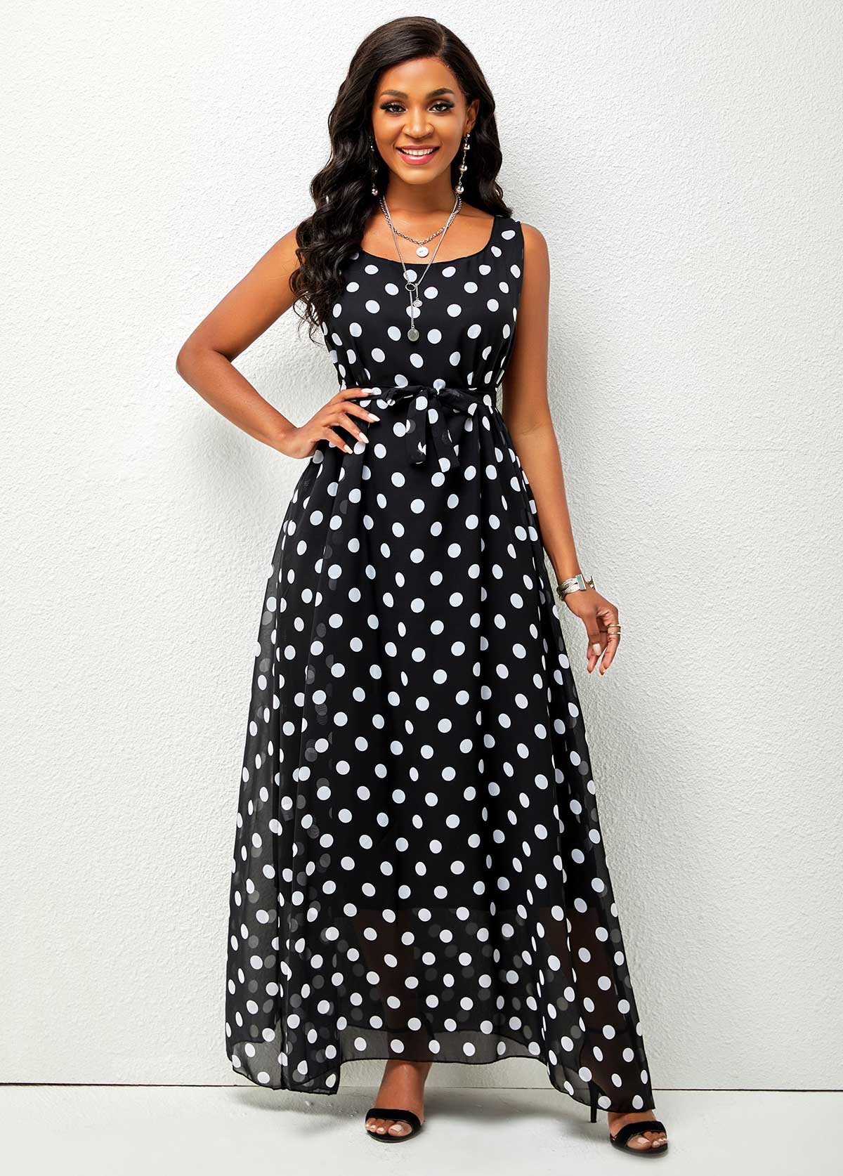 Belted Chiffon Polka Dot Maxi Dress