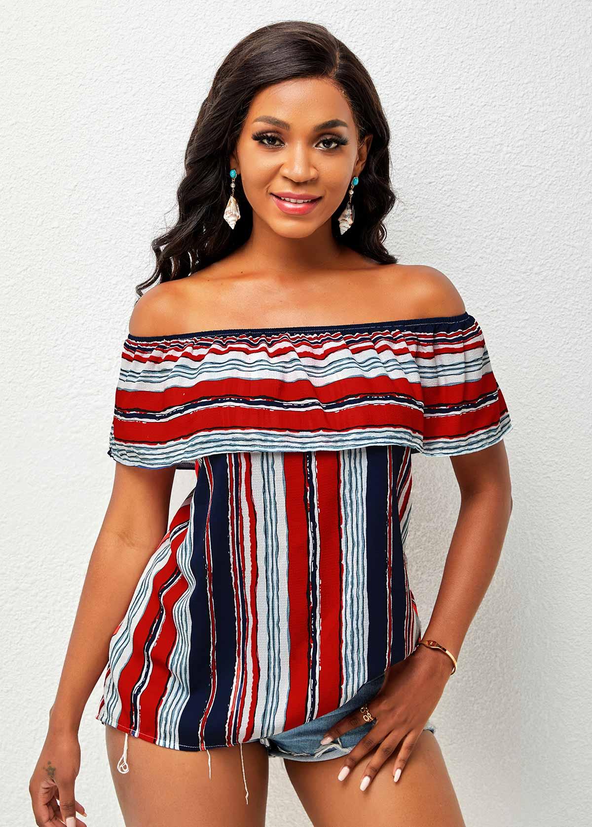 Flounce Off Shoulder Multi Stripe T Shirt