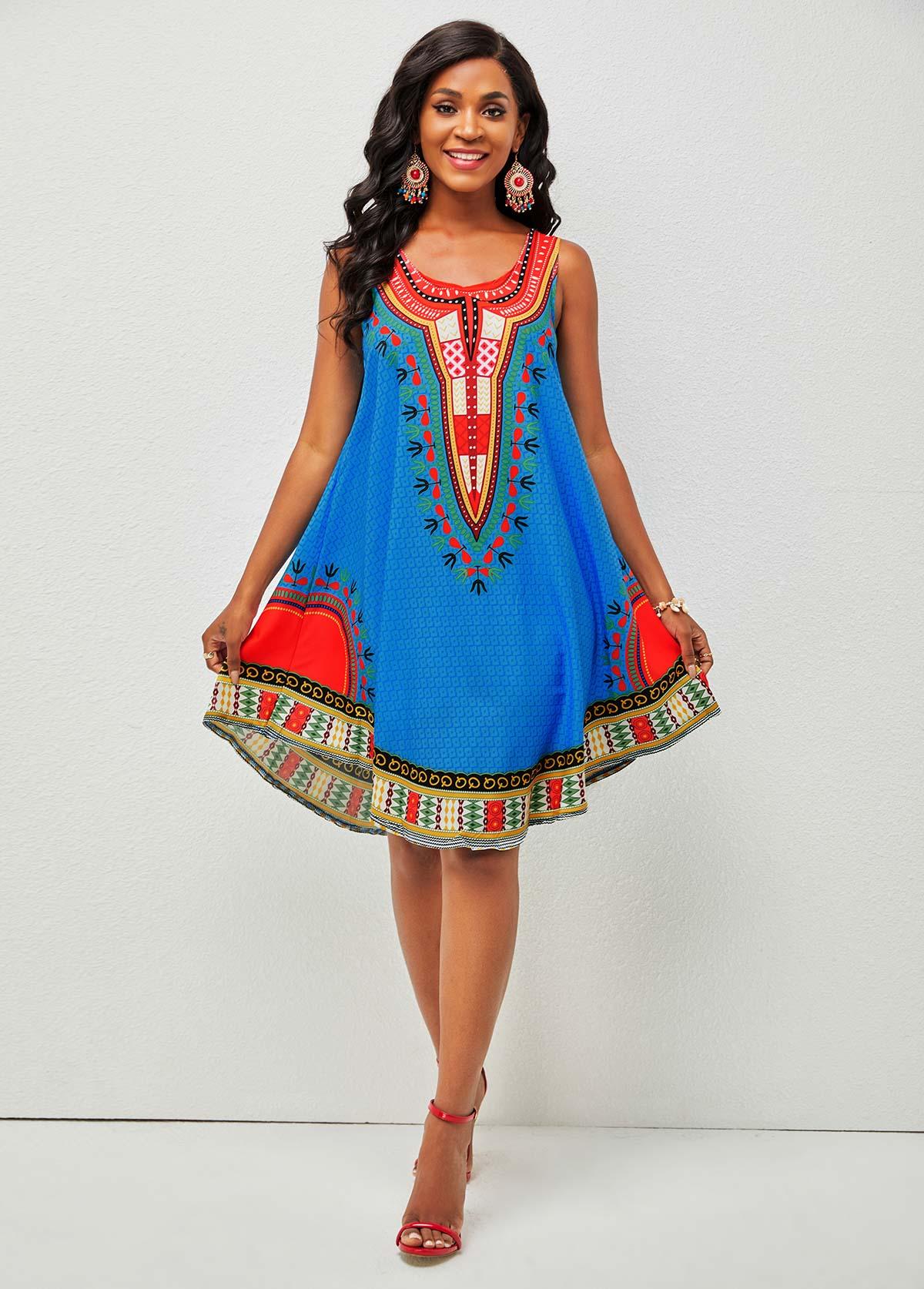 Wide Strap Tribal Print Round Neck Dress