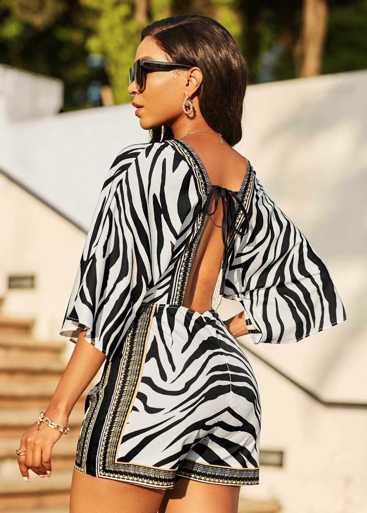 3/4 Sleeve Zebra Print Deep V Neck Romper