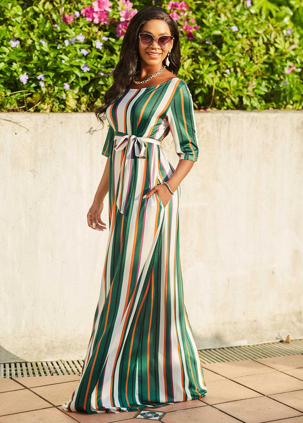 Round Neck Striped 3/4 Sleeve Dress