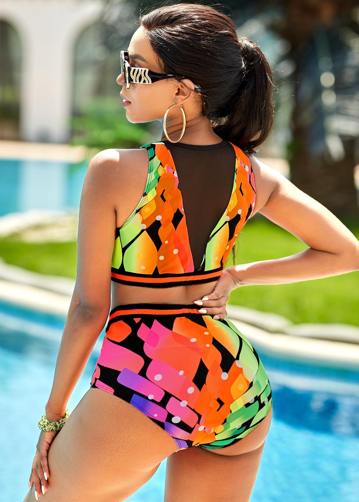 Mesh Stitching High Waist Geometric Print Bikini Set