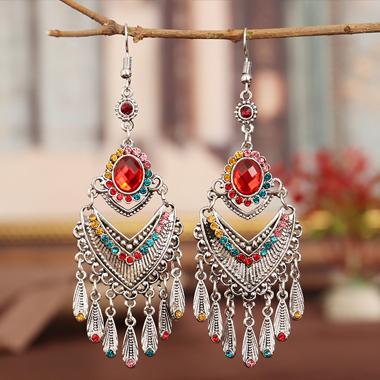 Tassel Tribal Design Rhinestone Detail Earring Set
