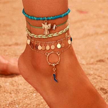 Weave Design Beads Detail Metal Anklets