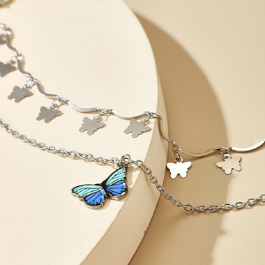 Metal Detail Butterfly Design Silver Anklets