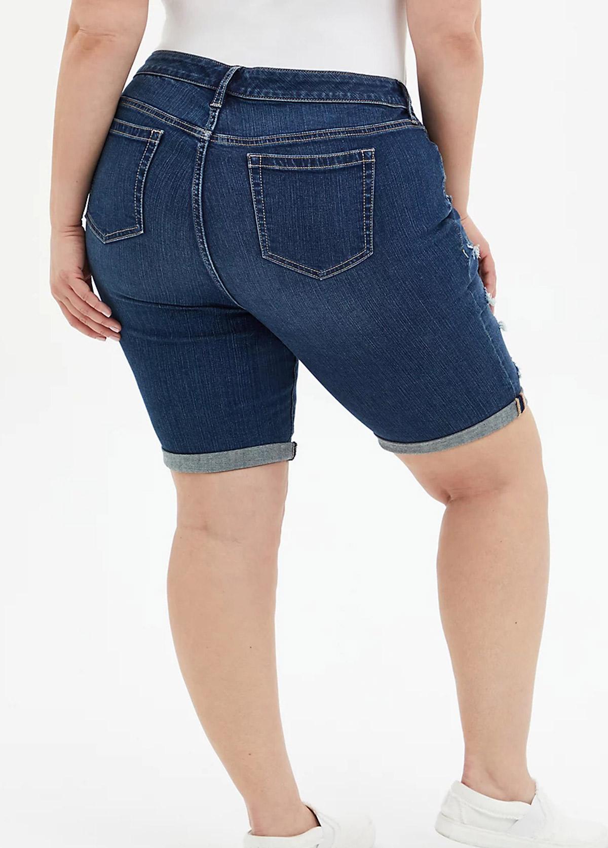Plus Size Acid Washed Shredded Shorts