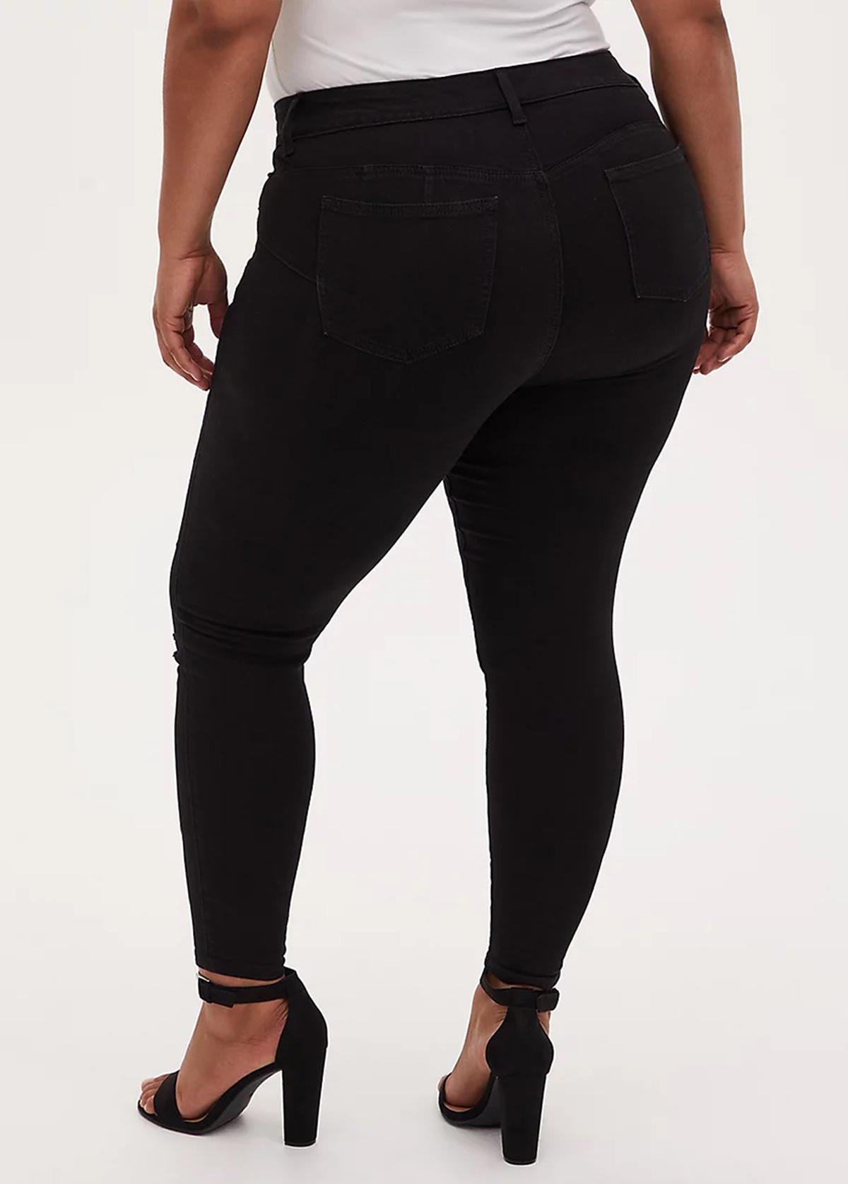 Shredded Black Skinny Plus Size Jeans
