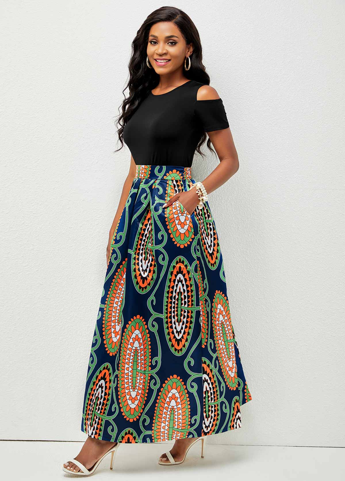 Round Neck Printed Cold Shoulder Two Piece Dress