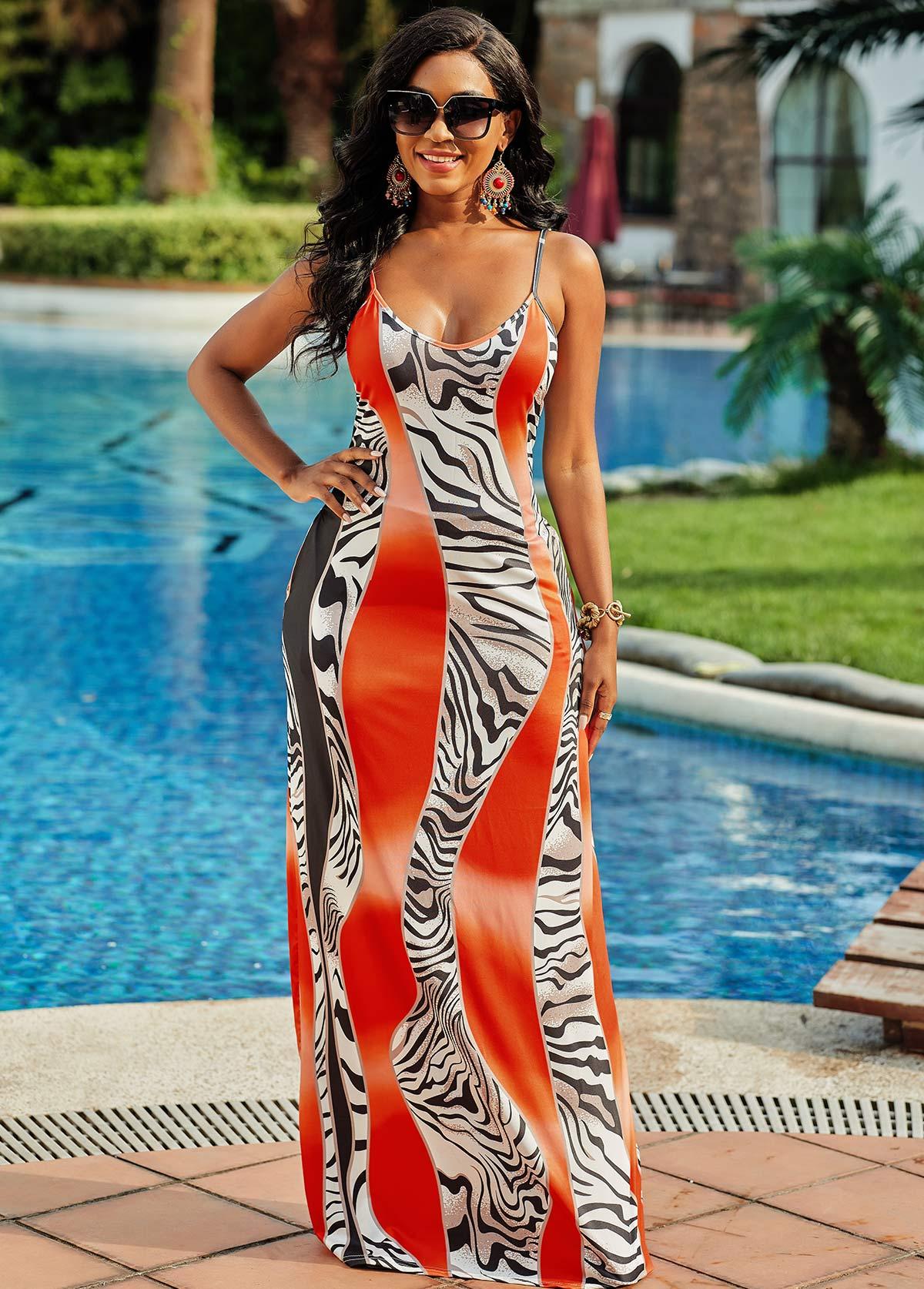 Zebra Print Pocket Spaghetti Strap Dress