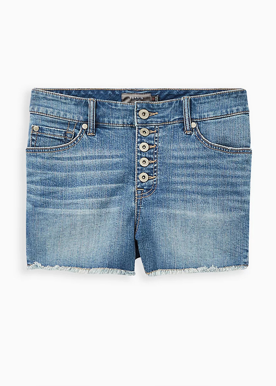 Mid Waist Denim Plus Size Shorts