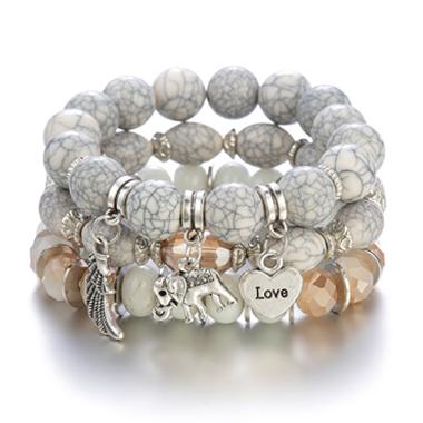 Acrylic Detail Layered Elephant Design Bracelets