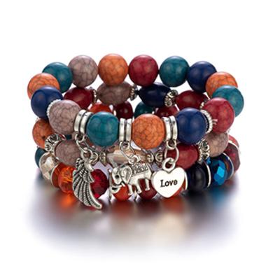 Elephant and Heart Design Acrylic Detail Bracelets