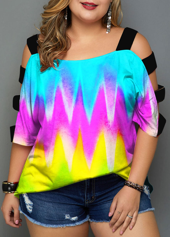Ladder Cutout Plus Size Colorful T Shirt