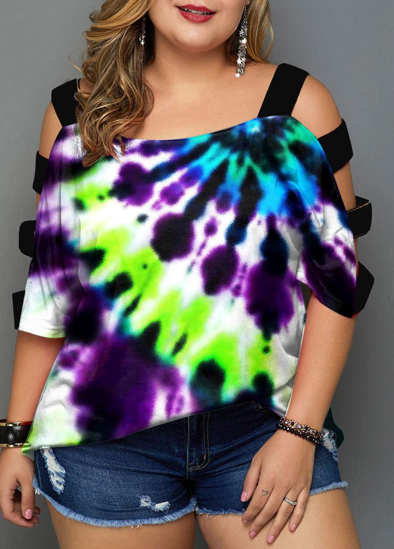 Tie Dye Print Plus Size Colorful T Shirt