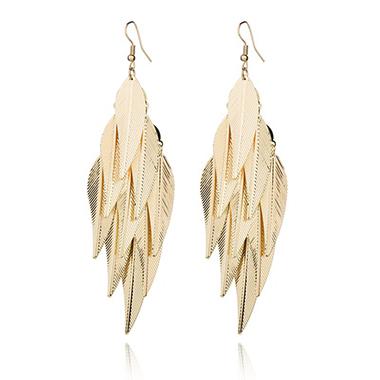 Gold Leaf Design Baroque Design Earring Set