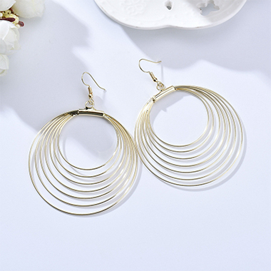Circular Design Metal Detail Earring Set
