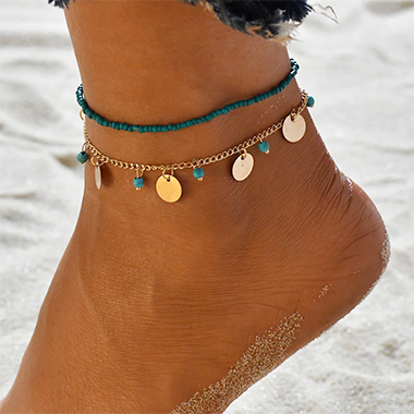 Metal Detail Beads Design Turquoise Anklets
