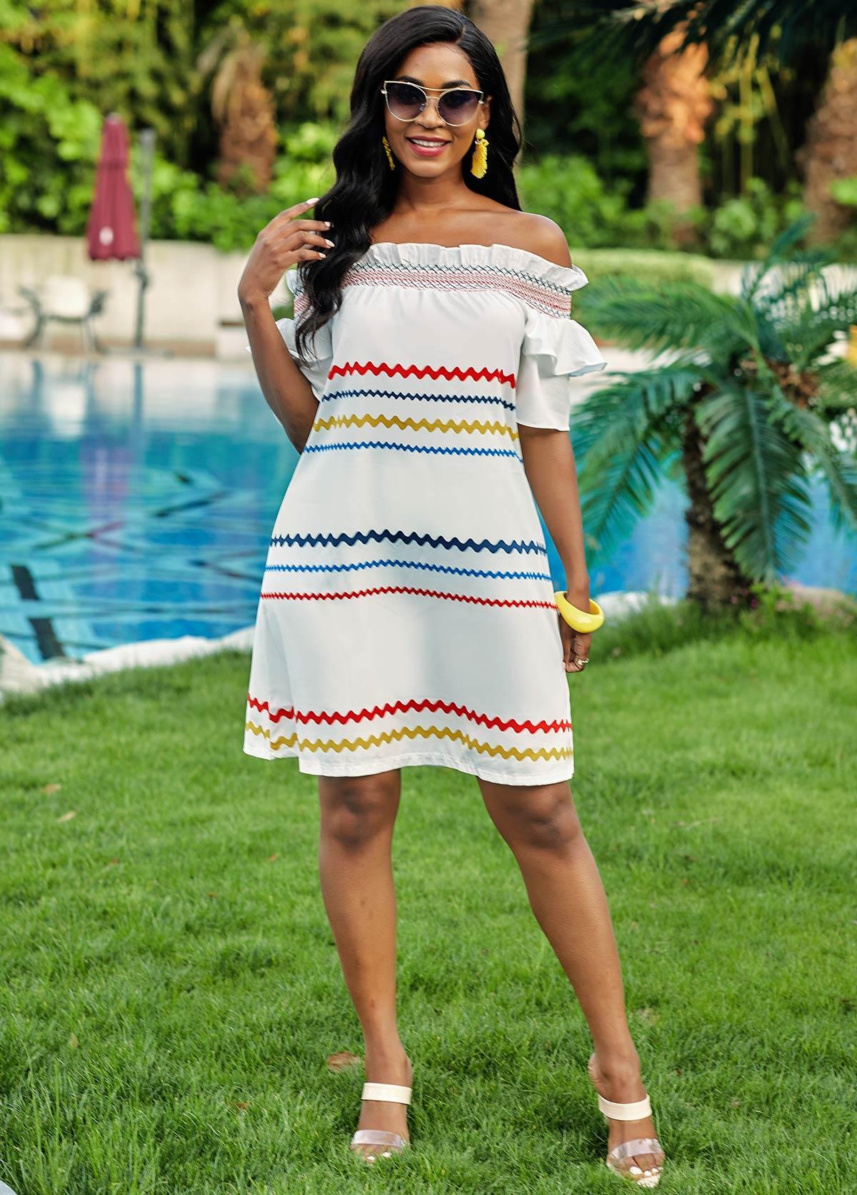 Stringy Selvedge Off Shoulder Rainbow Stripe Dress