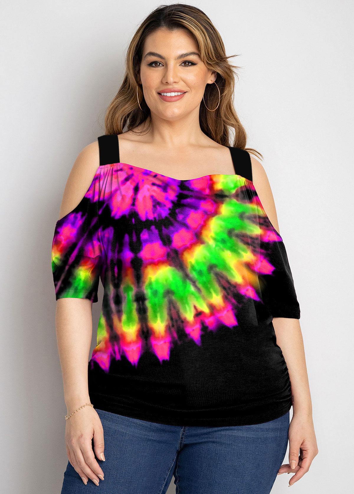 Cold Shoulder Plus Size Multi Color T Shirt