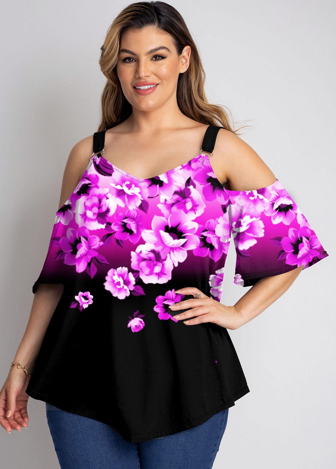 Plus Size Floral Print Ruffle Sleeve T Shirt
