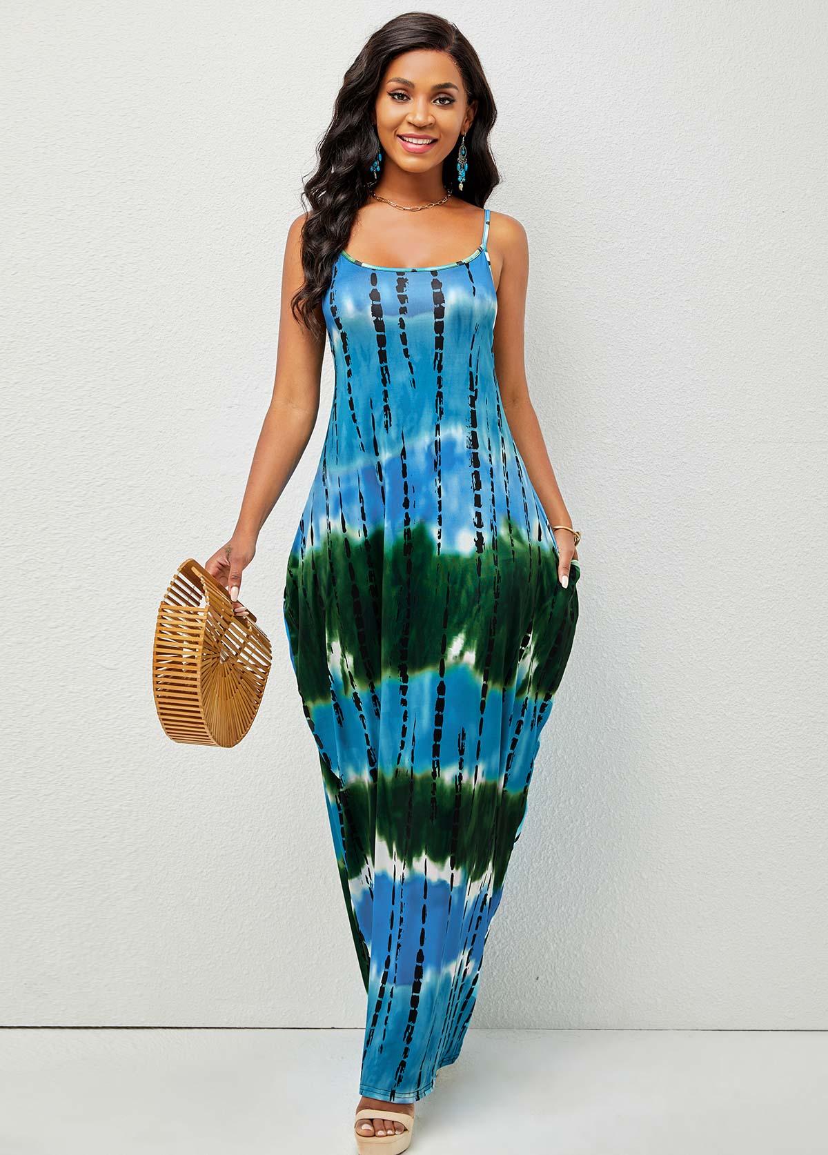Spaghetti Strap Tie Dye Print Pocket Dress