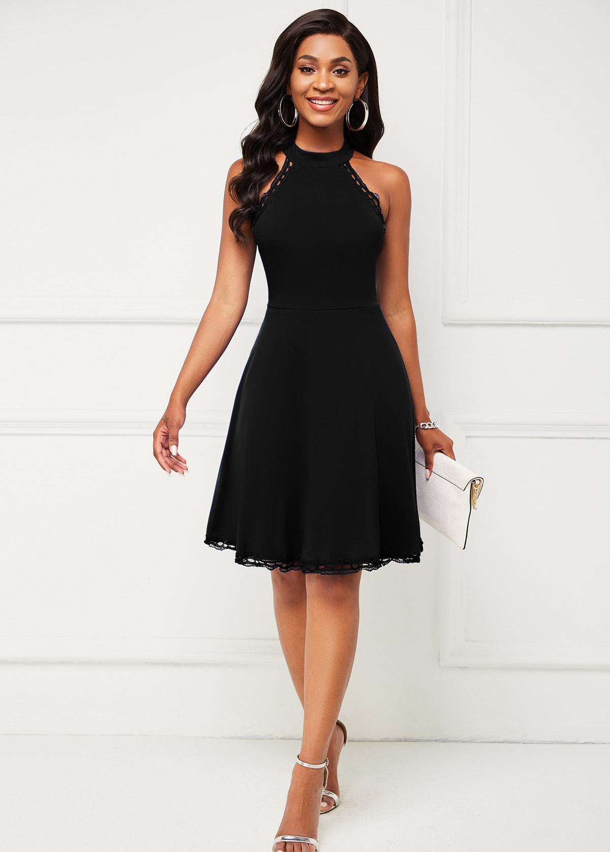 Zipper Closure Black Sleeveless Halter Dress