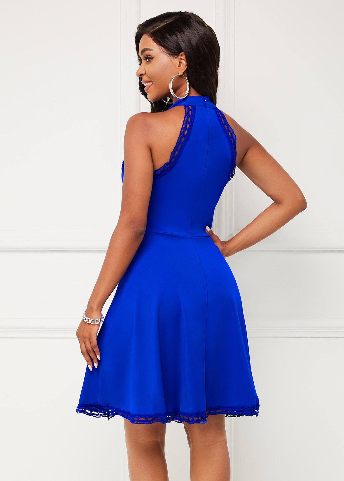 Lace Stitching Bib Neck Sleeveless Dress