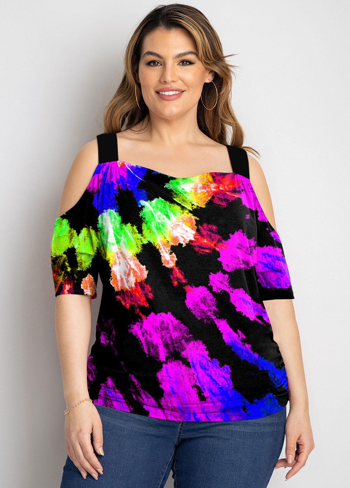 Rainbow Color Plus Size Tie Dye Print T Shirt