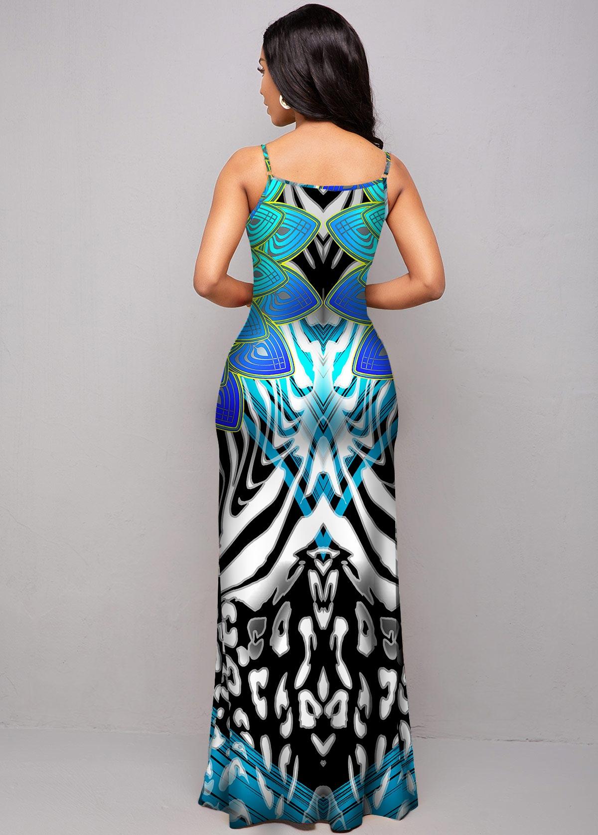 Leopard and Tribal Print Spaghetti Strap Dress
