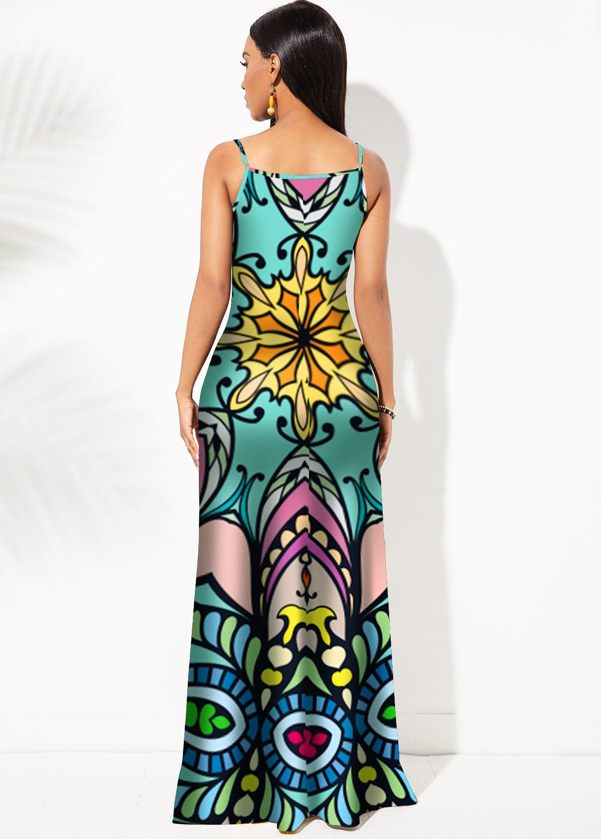 Spaghetti Strap Tribal Print Mermaid Dress