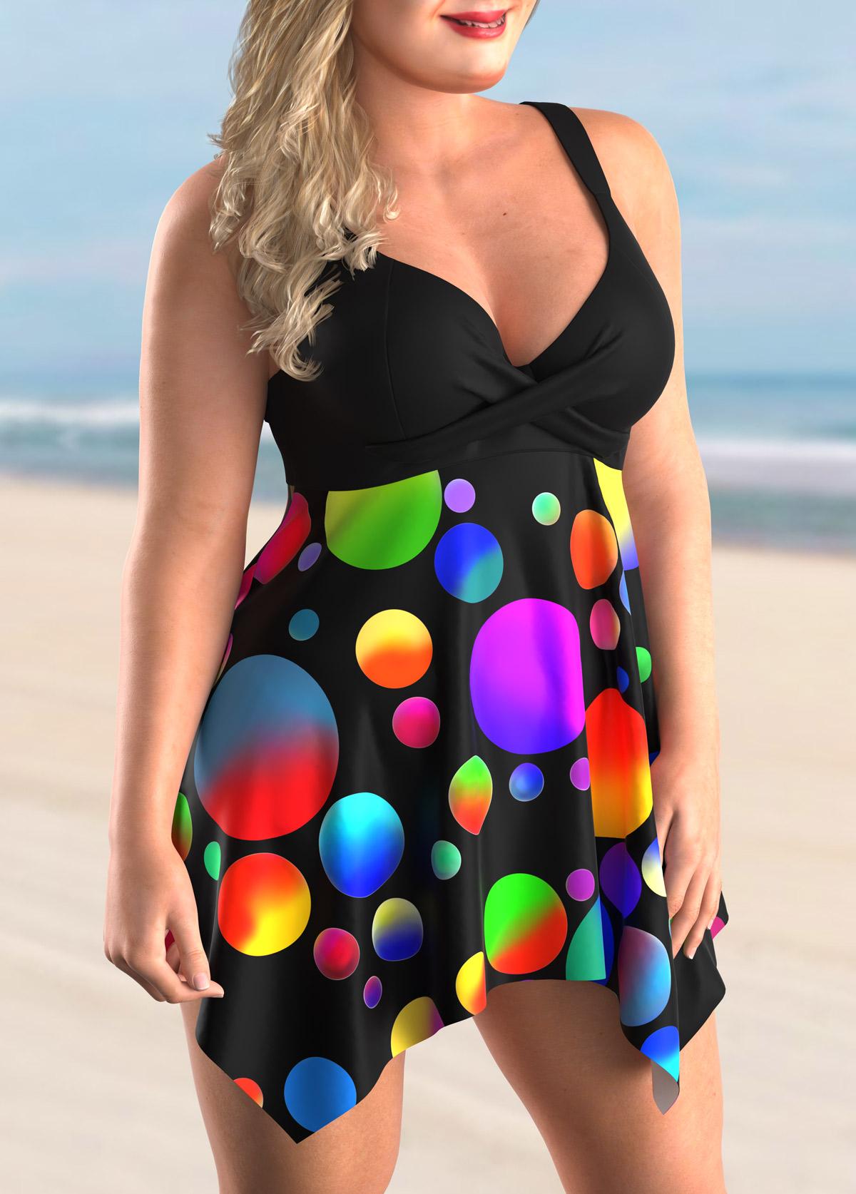 Asymmetric Hem Plus Size Polka Dot Swimdress and Panty