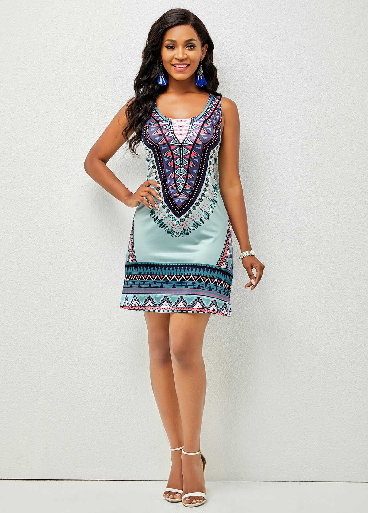 Sleeveless Tribal Print Round Neck Dress
