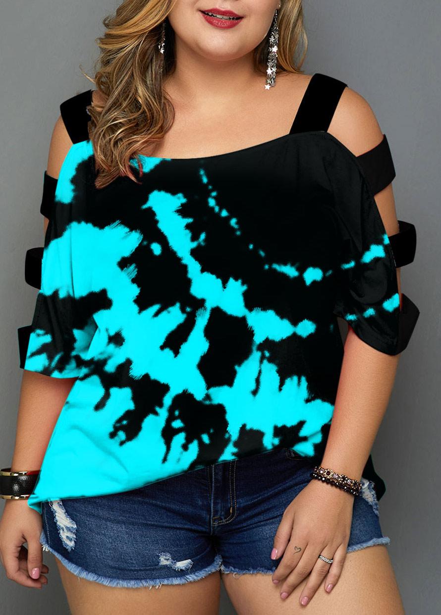 Ladder Cutout Tie Dye Print Plus Size T Shirt