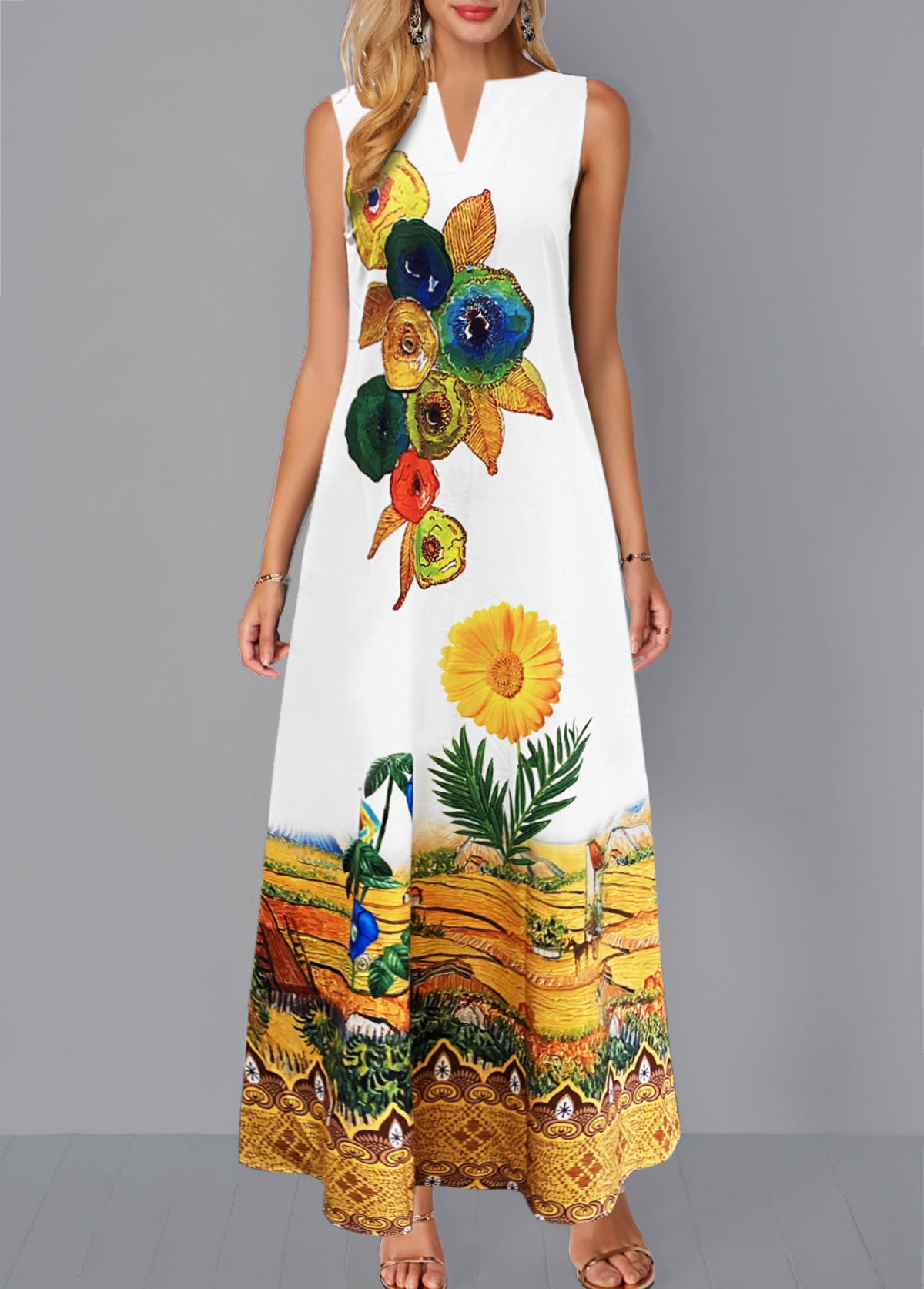 Sleeveless Split Neck Floral Print Dress