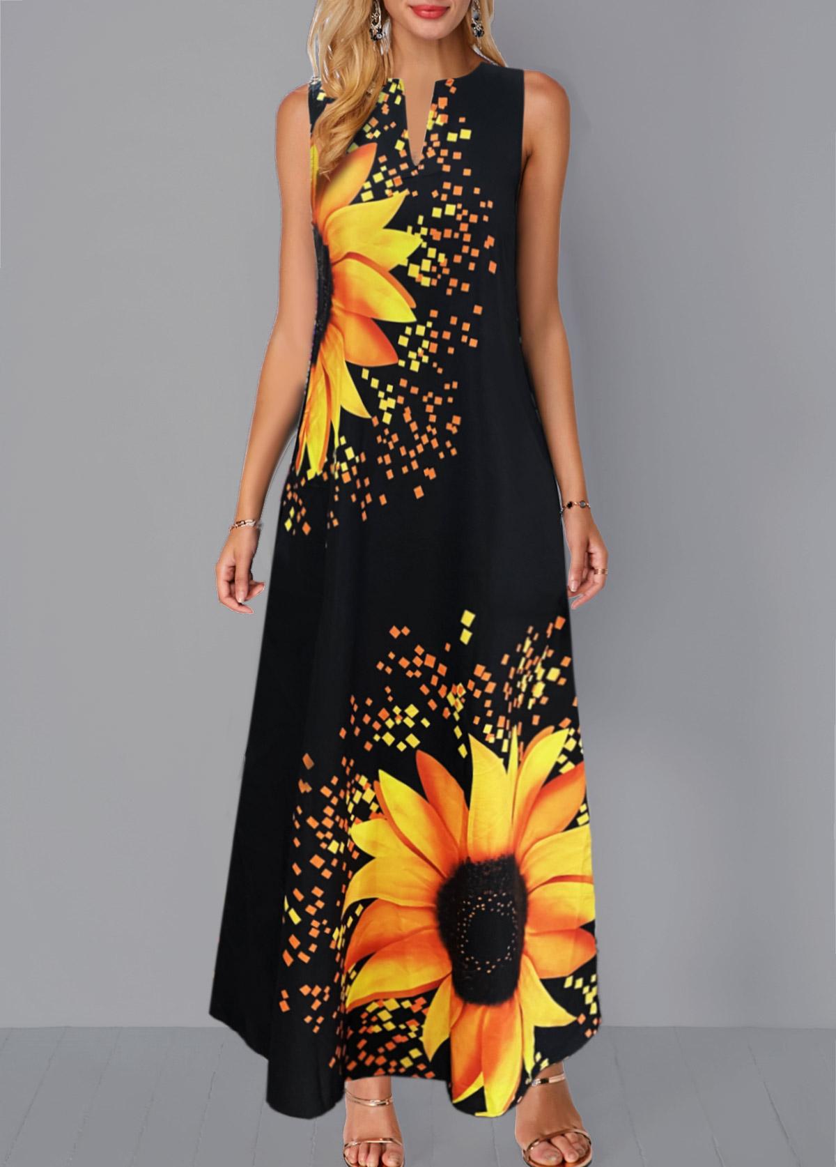 Sleeveless Split Neck Sunflower Print Dress