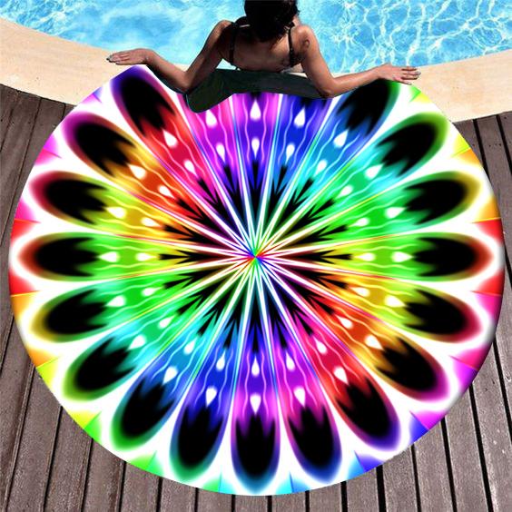 Circular Design Rainbow Color Printed Beach Blanket