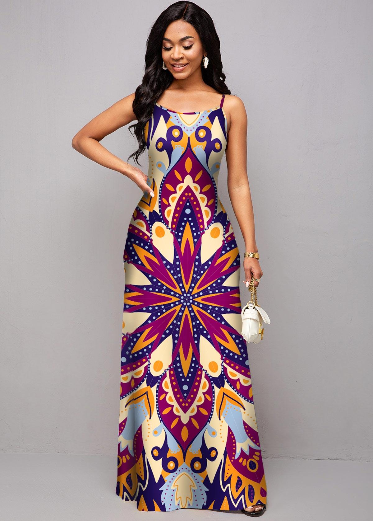 Tribal Print Spaghetti Strap Maxi Dress