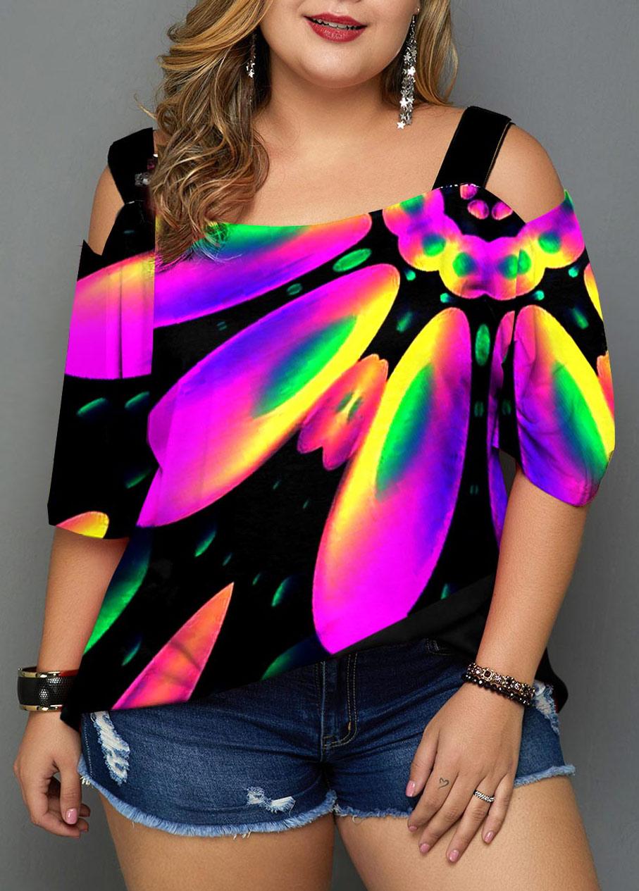 Cold Shoulder Plus Size Rainbow Color Printed T Shirt