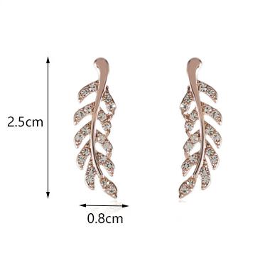 Pink Feathers Shape Rhinestone Earrings